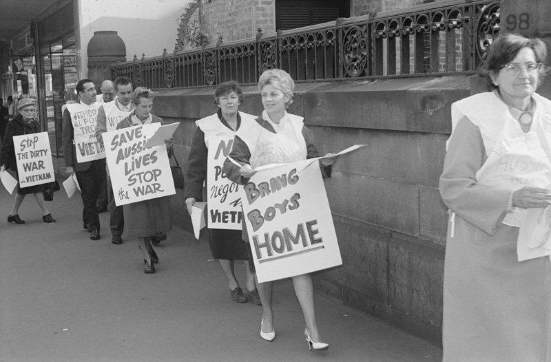 Anti-Vietnam War protest Wynyard Street Sydney 1970s