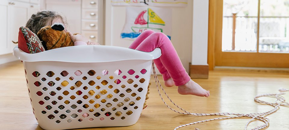 child in basket