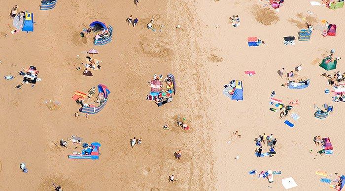 drone shot beach scene