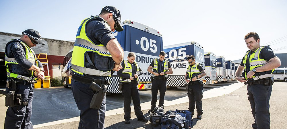police and drug buses