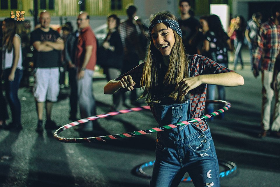 Hula hooping at a festival