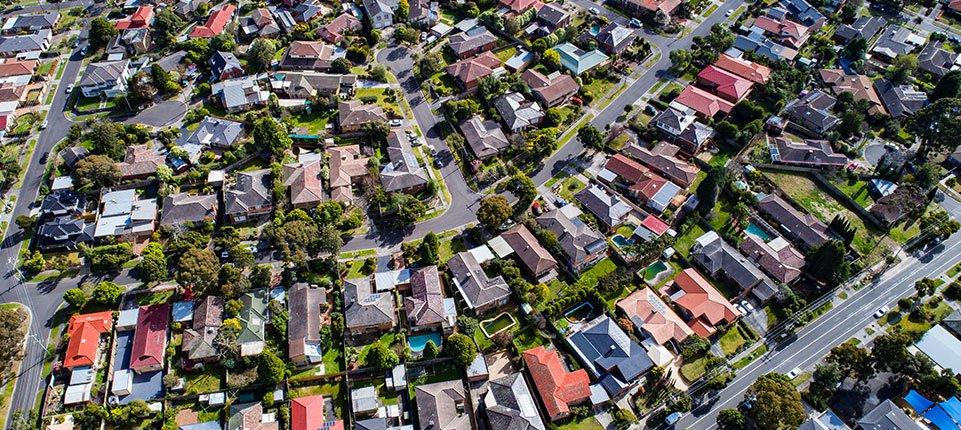 Aerial shot of Australian suburban housing