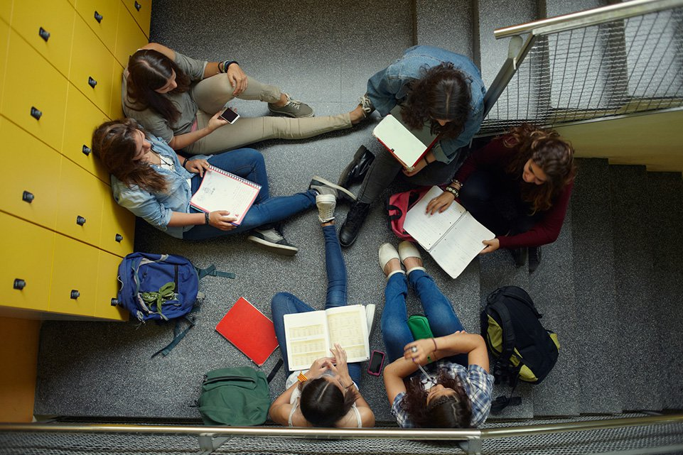 Studying in a stairwell